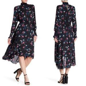 NWT Nanette Lepore Smocked Mock Neck Midi Dress